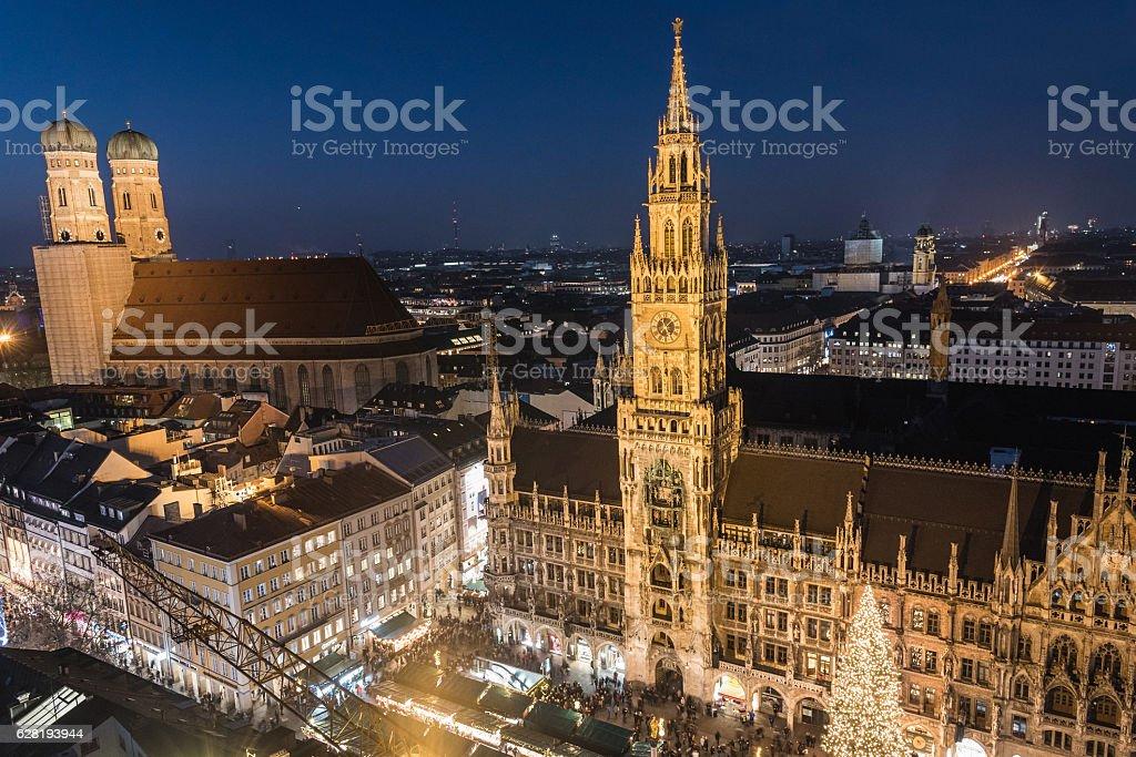 Christmas market at Marienplatz, Munich, Germany stock photo
