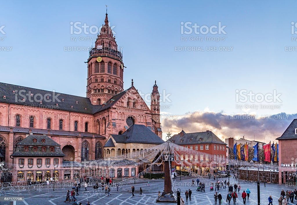 christmas market at St. Martin's Cathedral in Mainz stock photo