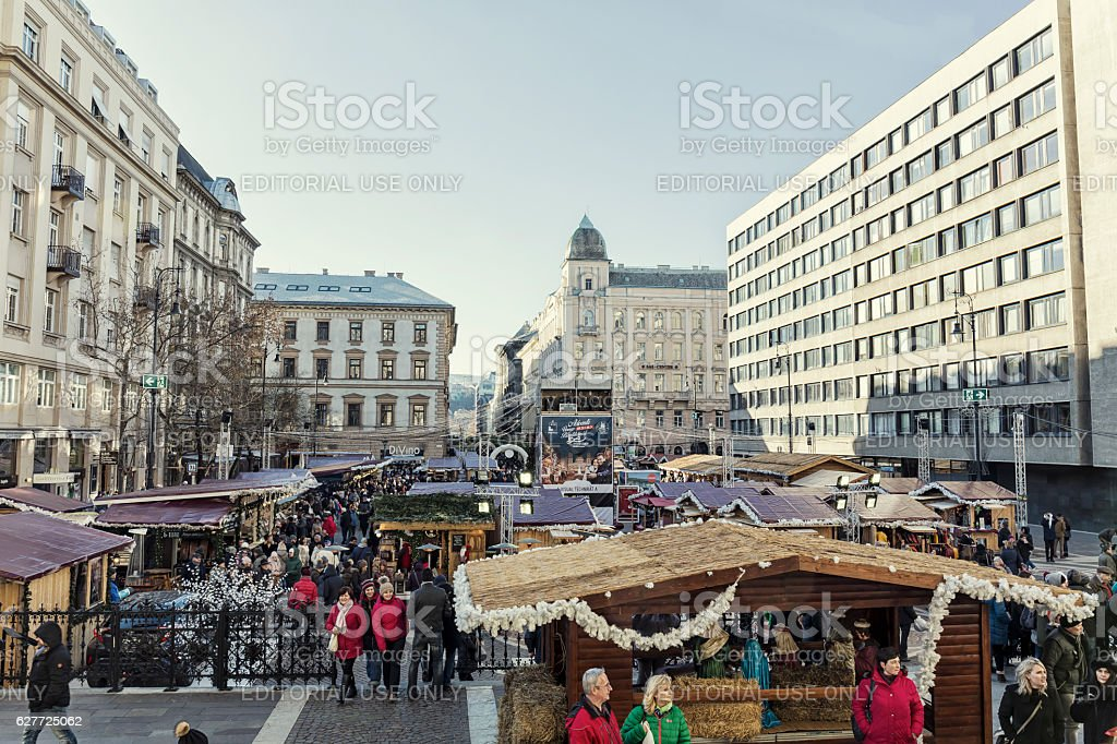 Christmas Market at St Stephen's Square in Budapest stock photo