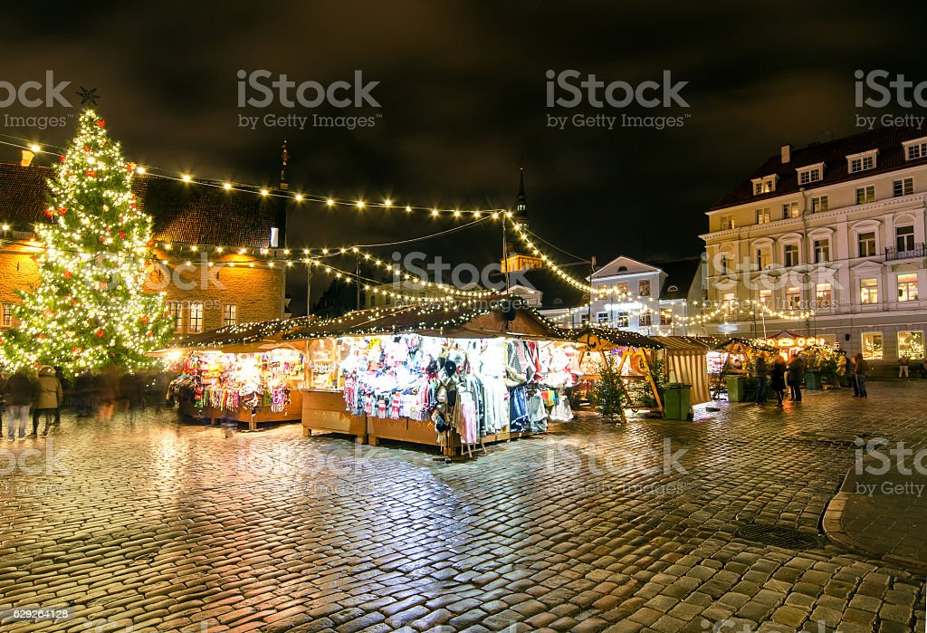 Christmas Market at Town Hall Square in Tallinn stock photo