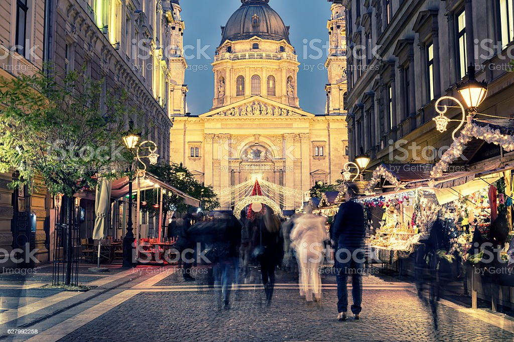 Christmas Market at Zrinyi Street St Stephen's Basilica in Budapest stock photo