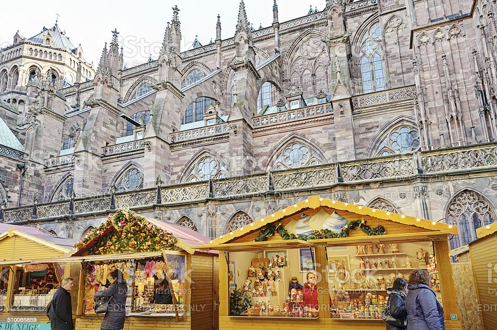 Christmas market by Strasbourg Cathedral, France stock photo