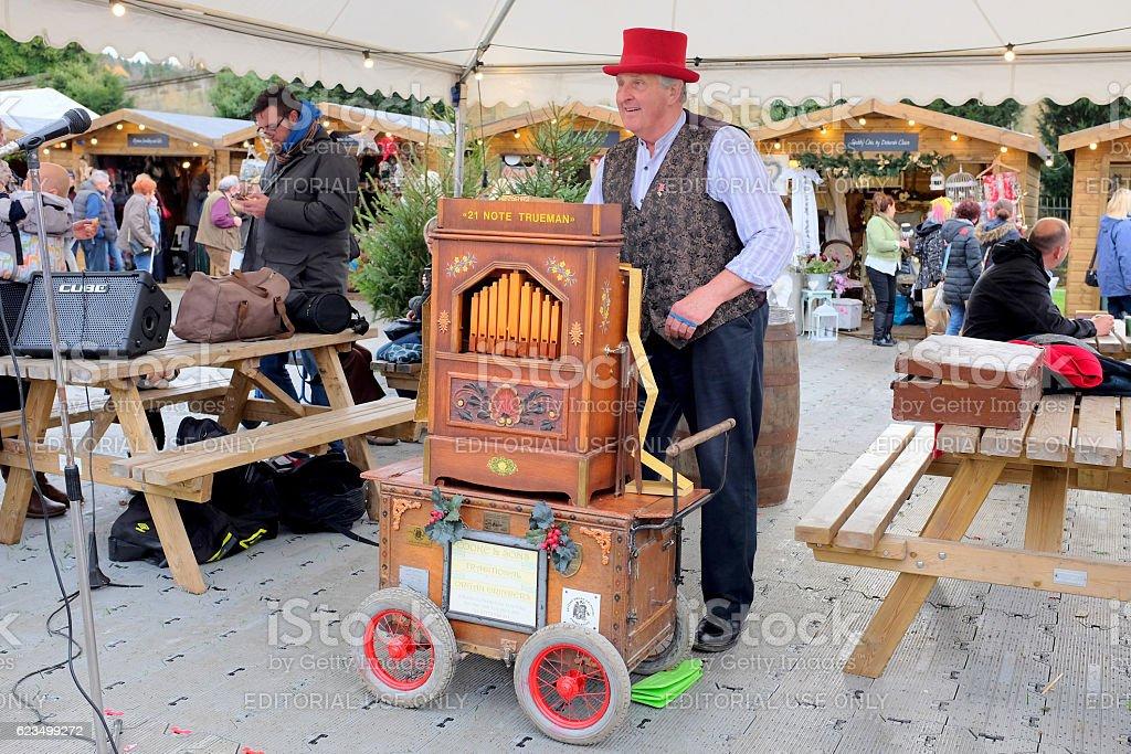 Christmas market entertainment. stock photo