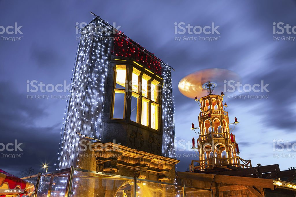 Christmas Market illuminated at night stock photo