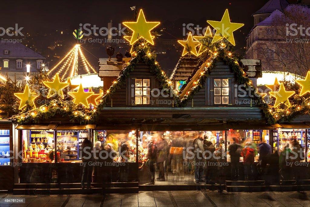 Christmas Market Illuminated at Night, Stuttgart, Germany stock photo