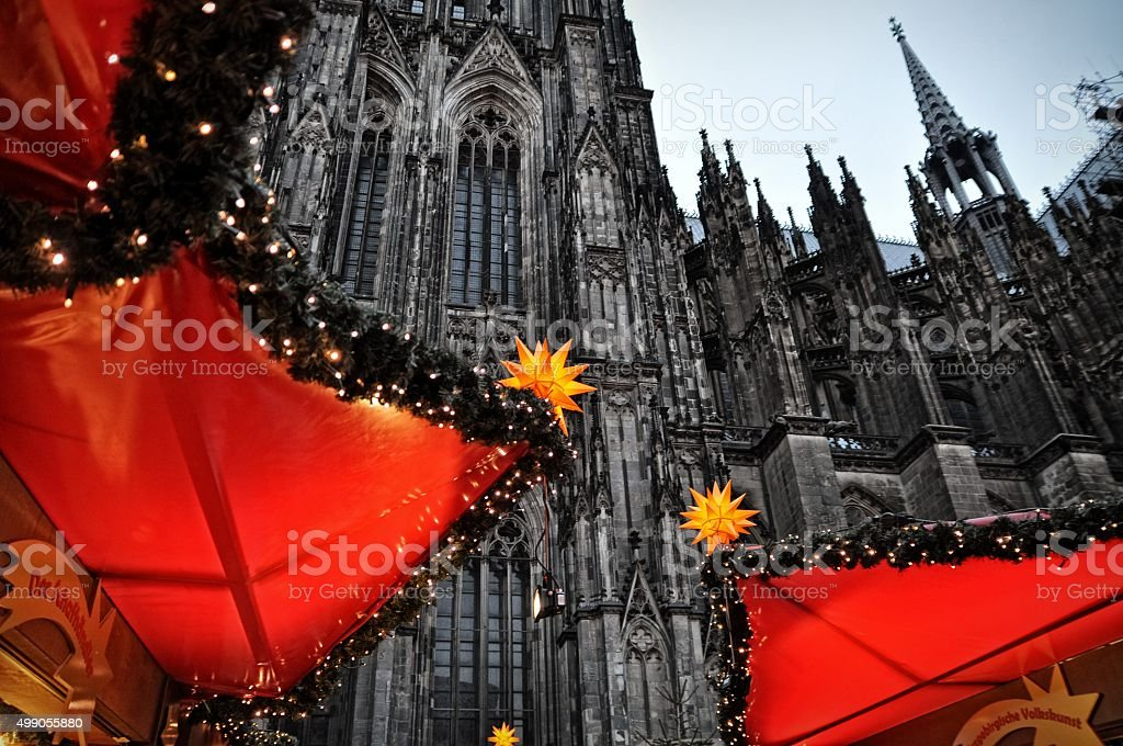 Christmas market illumination and decoration in Cologne, Germany stock photo