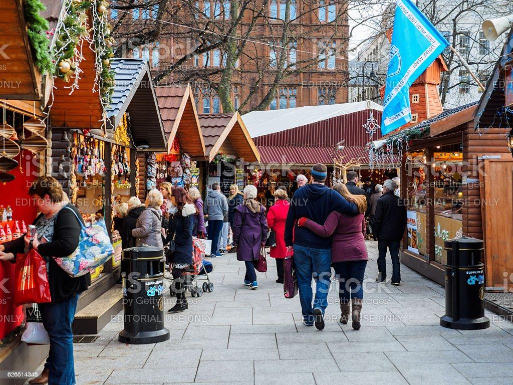 Christmas market in Belfast,Northern Ireland stock photo