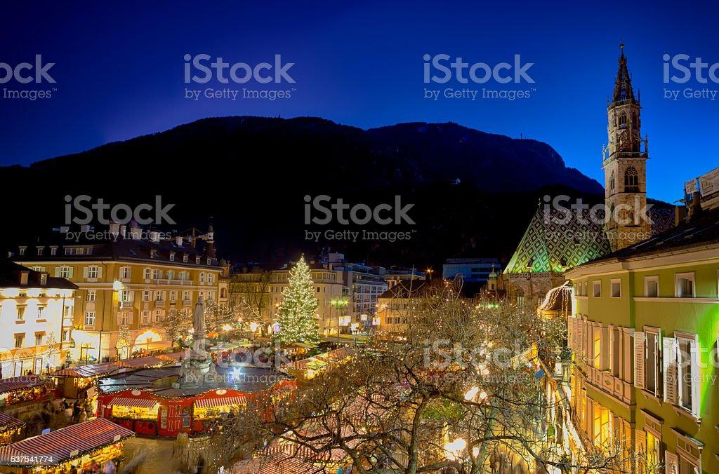 Christmas market in Bolzano stock photo