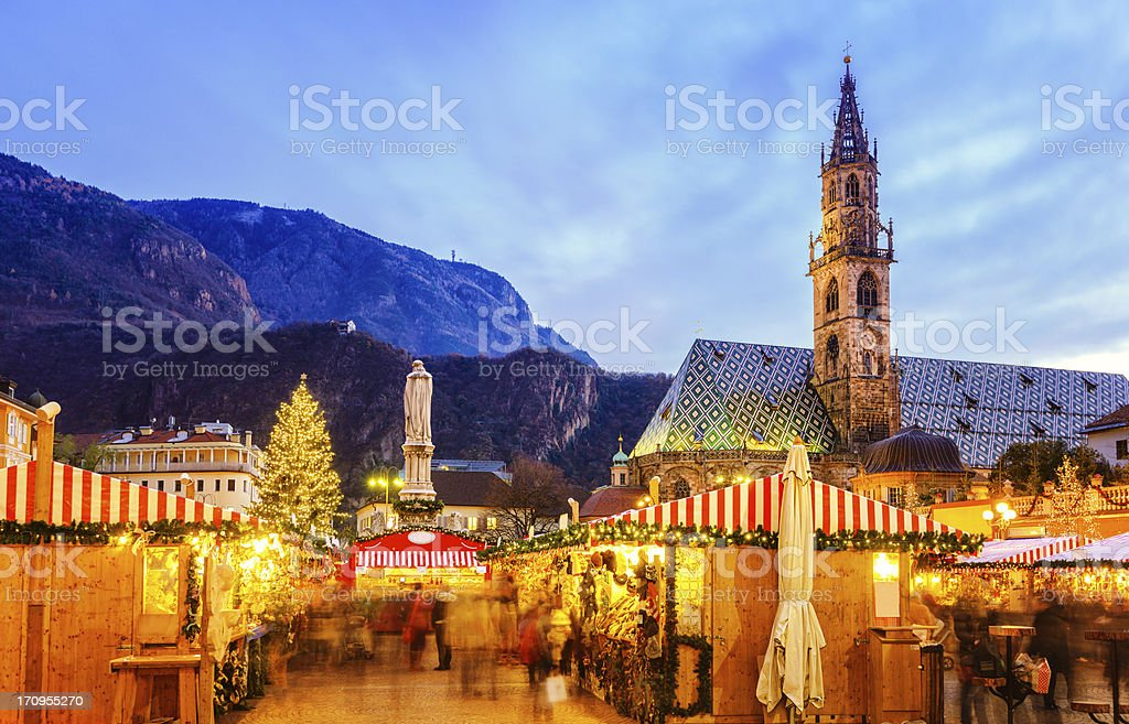Christmas market in Bozen, South Tyrol stock photo
