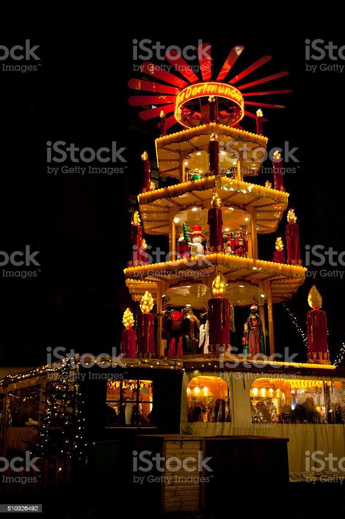 Christmas market in Dortmund, Germany, with pyramid stock photo