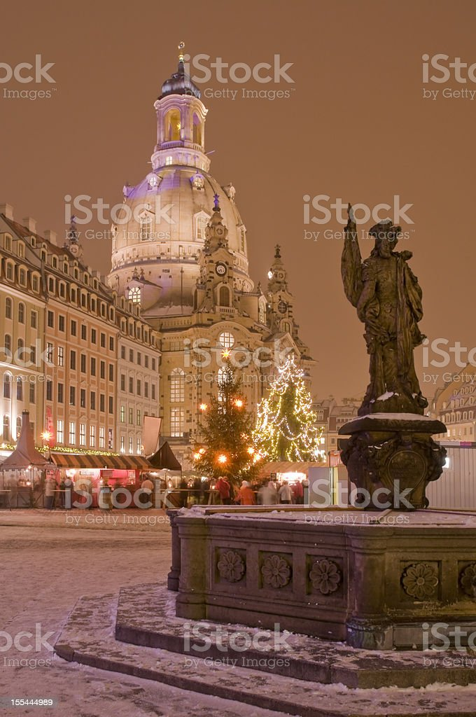 Christmas market in Dresden with Frauenkirche stock photo