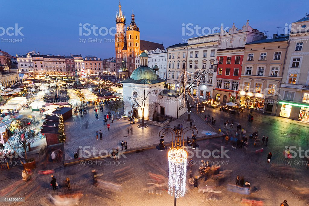 Christmas market in Krakow stock photo