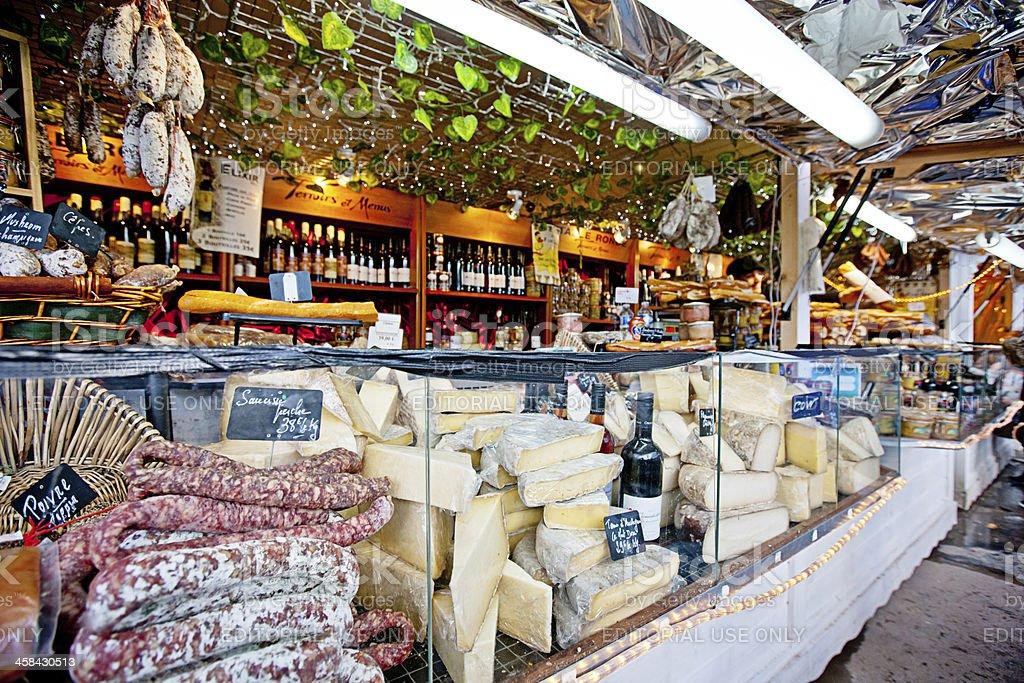 Christmas Market in Paris. Sausages, Cheese, Foie Gras. stock photo