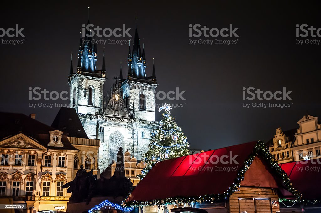 Christmas market in Prague, Czech Republic stock photo