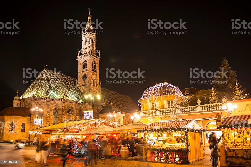 Christmas Market in South Tyrol Bolzano stock photo