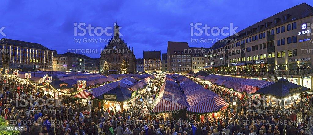 Christmas Market in the Hauptplatz, Nuremberg stock photo