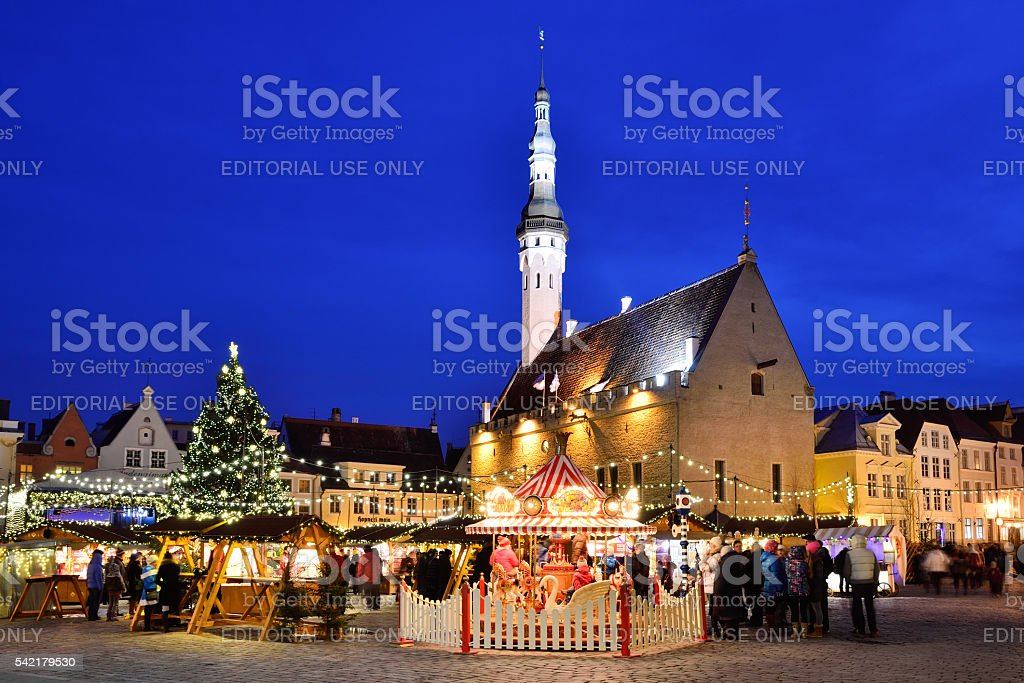 Christmas market in the old town of Tallinn stock photo