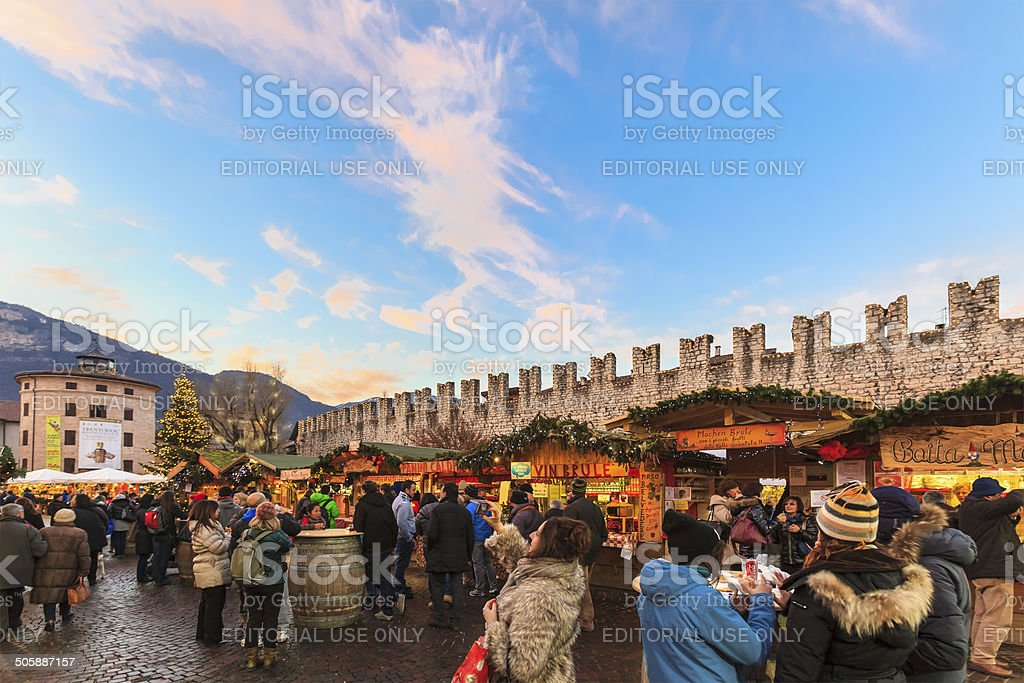 Christmas market in Trento, Italy stock photo