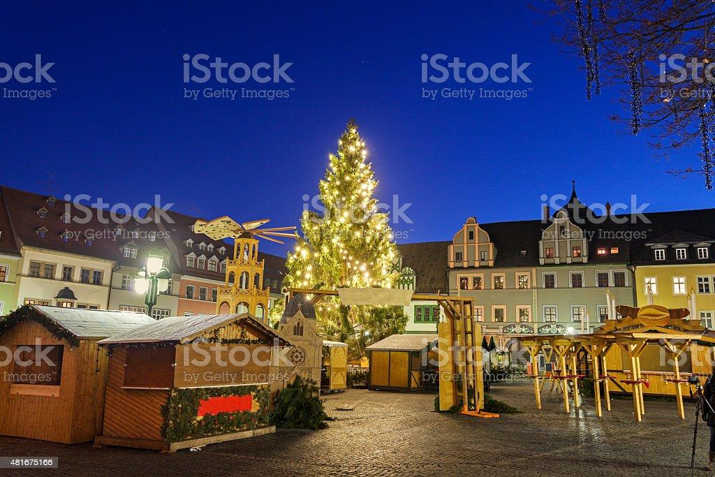Christmas market on Marktplatz stock photo