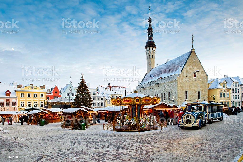 Christmas market on town hall square in Tallinn, Estonia stock photo