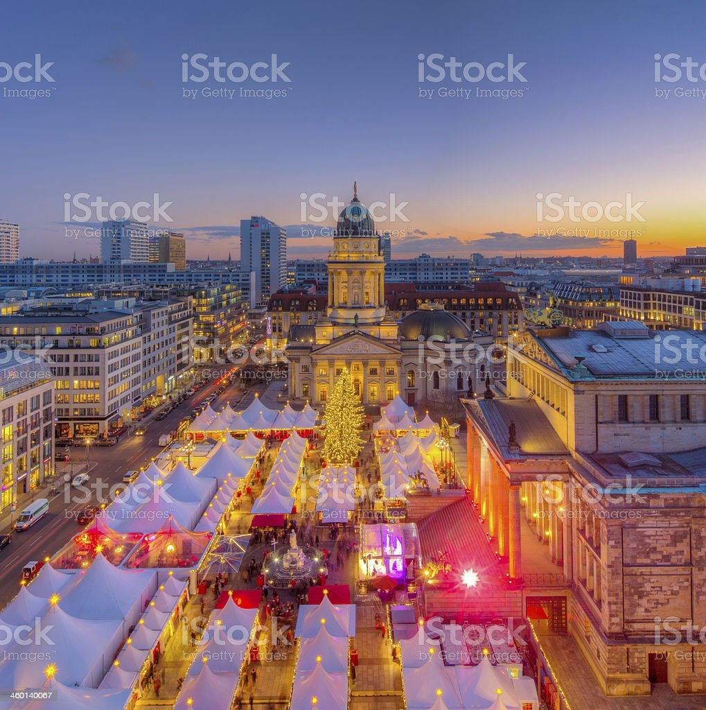 Christmas Market Panorama Skyline on Gendarmenmarkt in Berlin stock photo