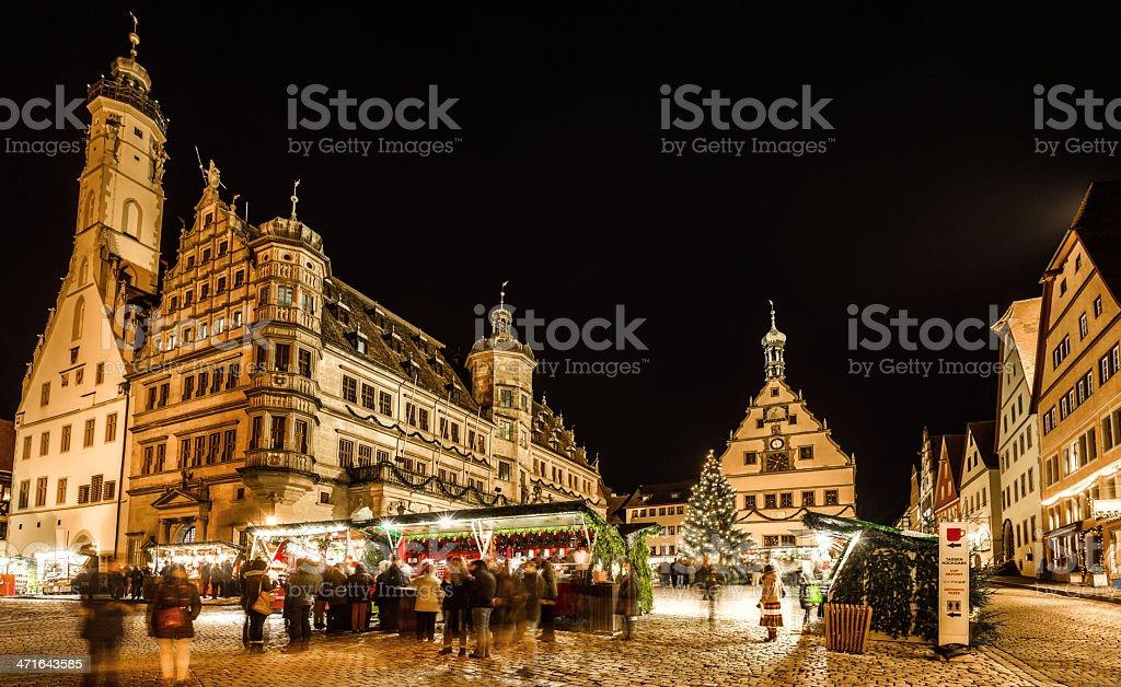 Christmas Market Rothenburg at night royalty-free stock photo