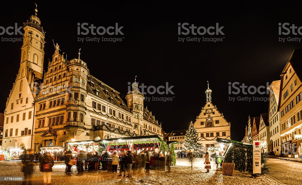 Christmas Market Rothenburg at night stock photo