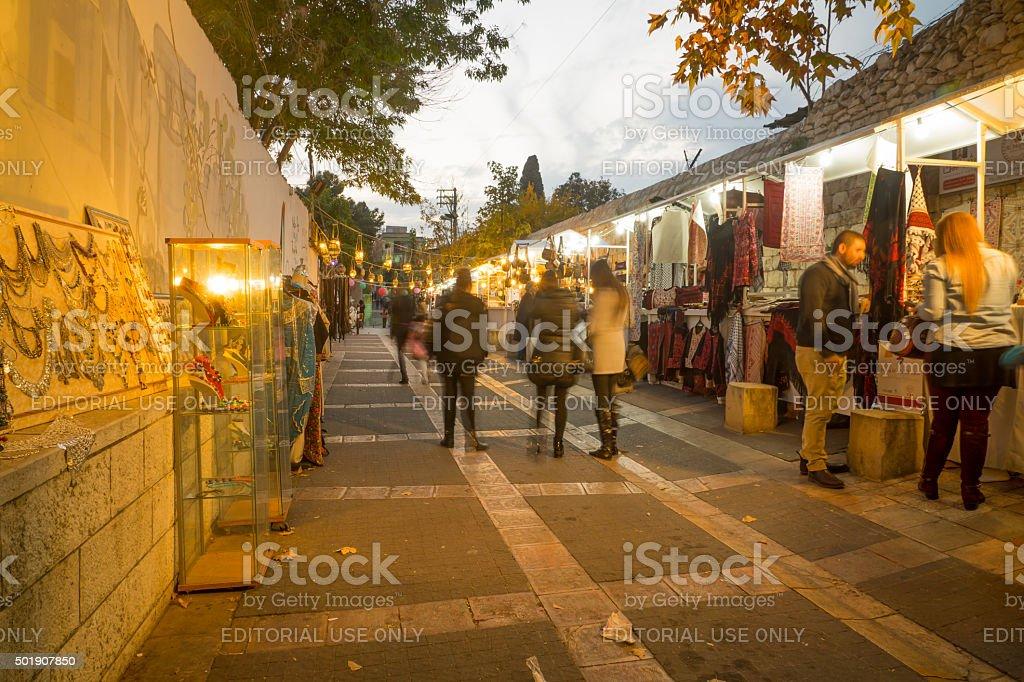 Christmas market scene, Nazareth stock photo