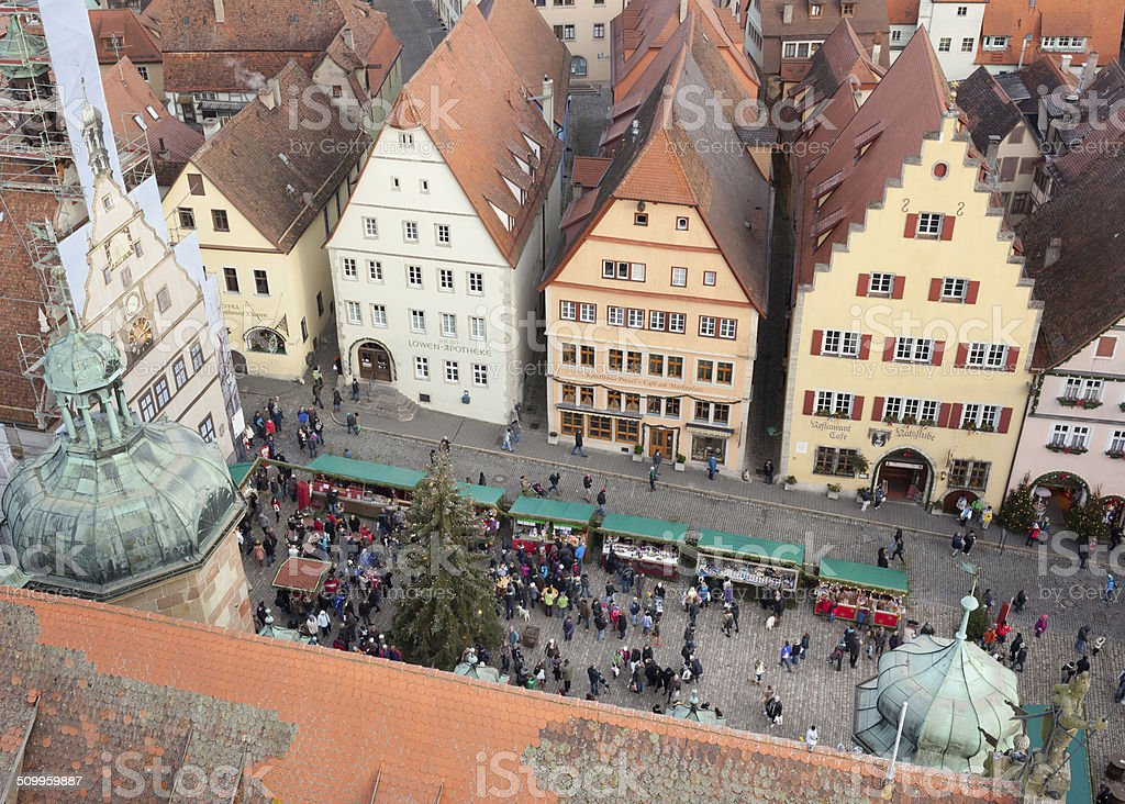 Christmas Market square of Rothenburg ob der Tauber stock photo