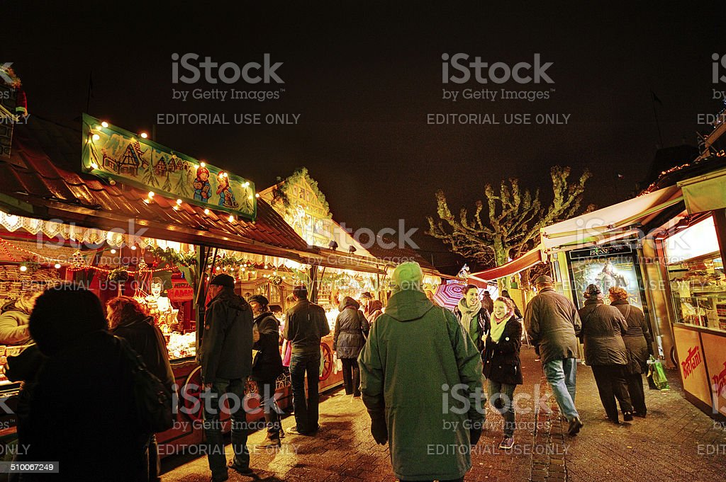 Christmas market stalls at night in Strasbourg, France stock photo