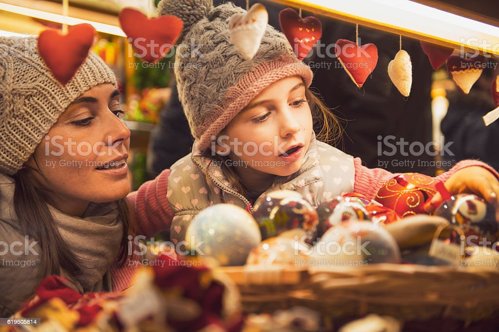 Christmas market - vintage look stock photo