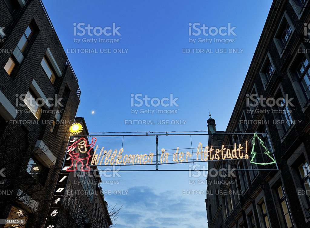 Christmas market welcome sign in Dusseldorf Germany stock photo