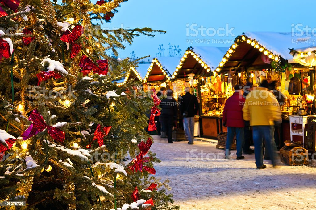 Christmas Market with snow stock photo