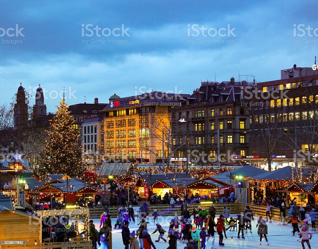 Christmas market zuerich city iceskating stock photo