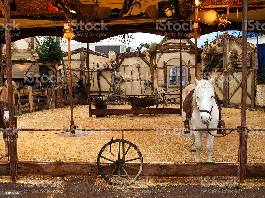 Christmas market's pony stock photo