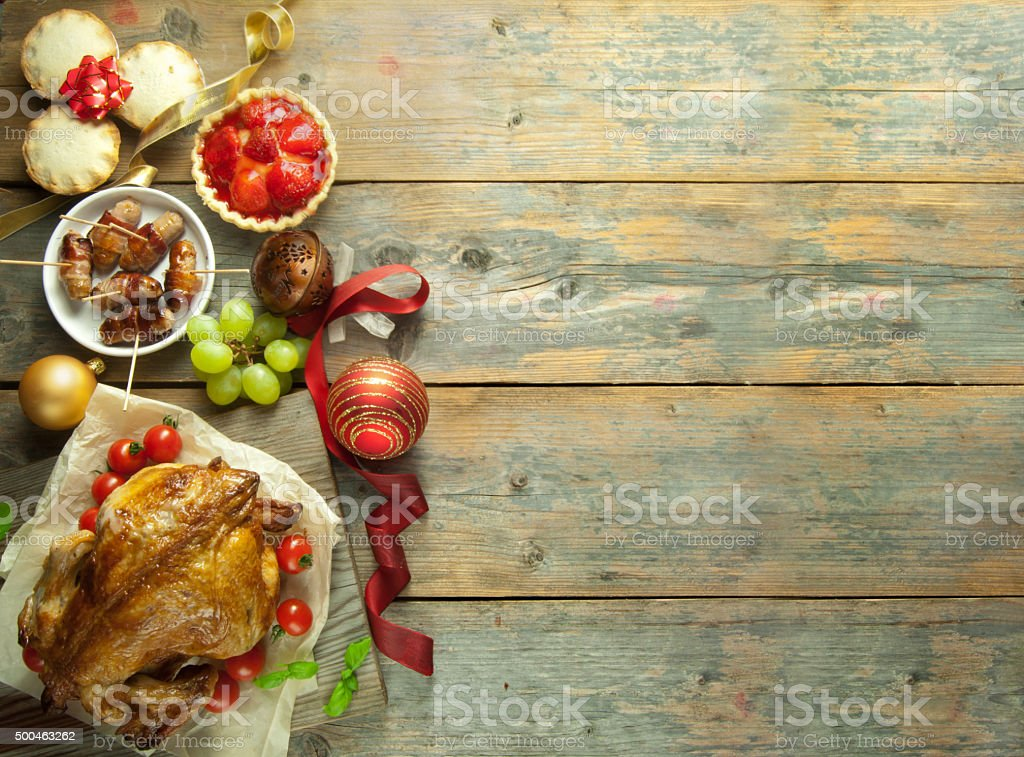 Christmas meal background stock photo