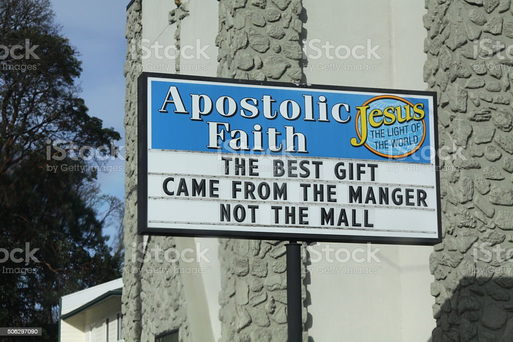 Christmas Message On A Church Reader Board stock photo