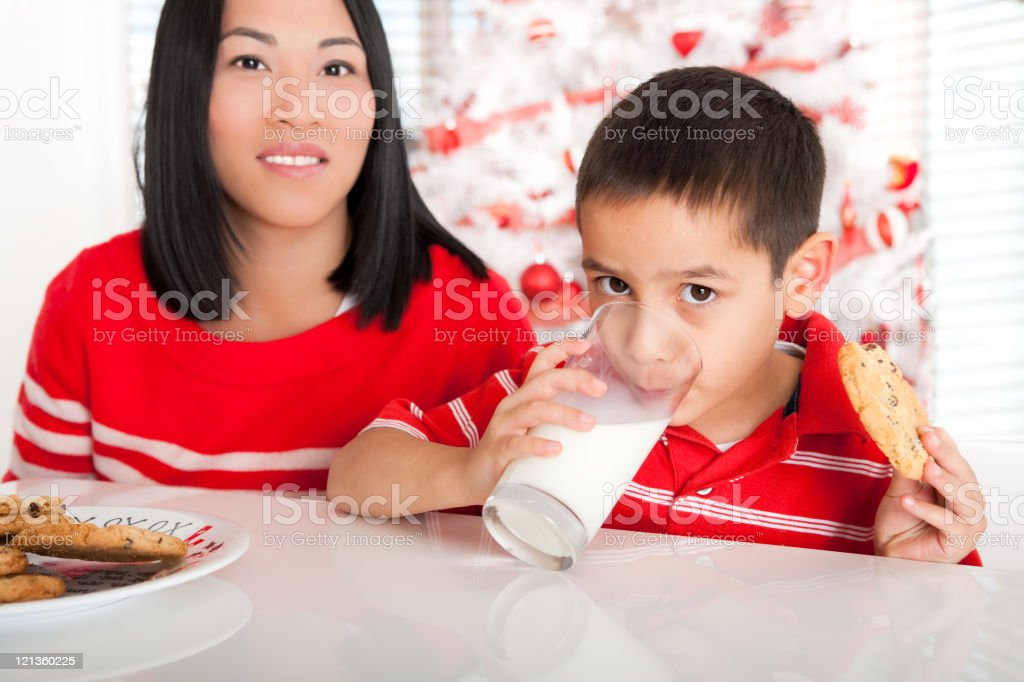 Christmas milk and cookies royalty-free stock photo