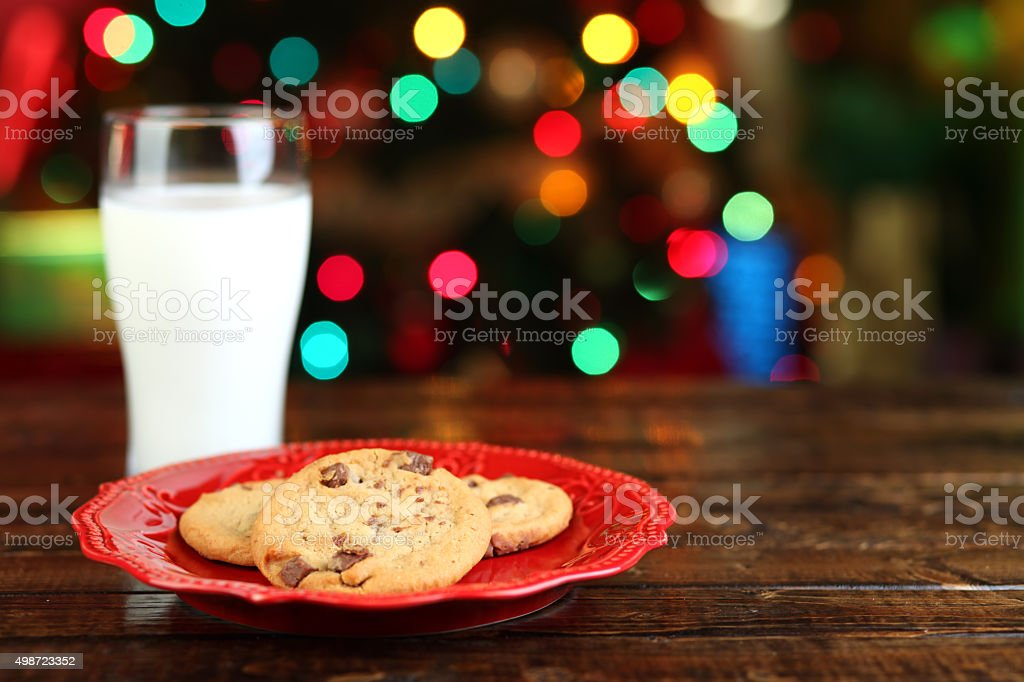 Christmas milk and cookies stock photo