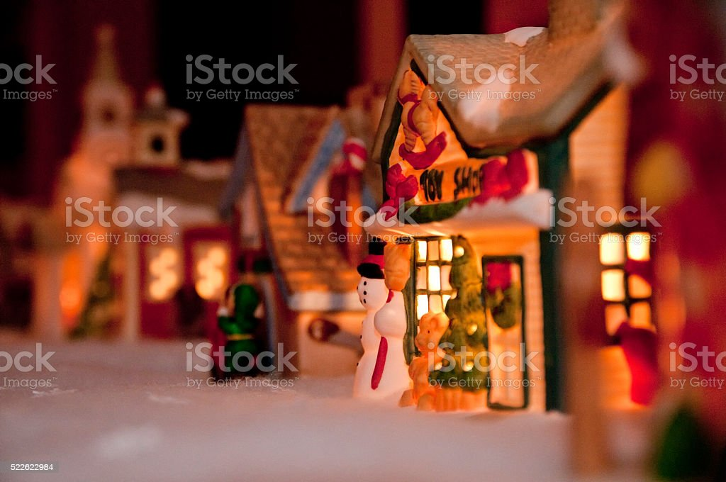 Christmas Minature Toyland Night Scene stock photo