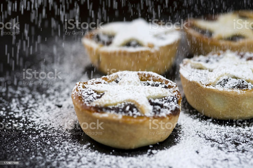 Christmas Mince Pies with Icing Sugar stock photo