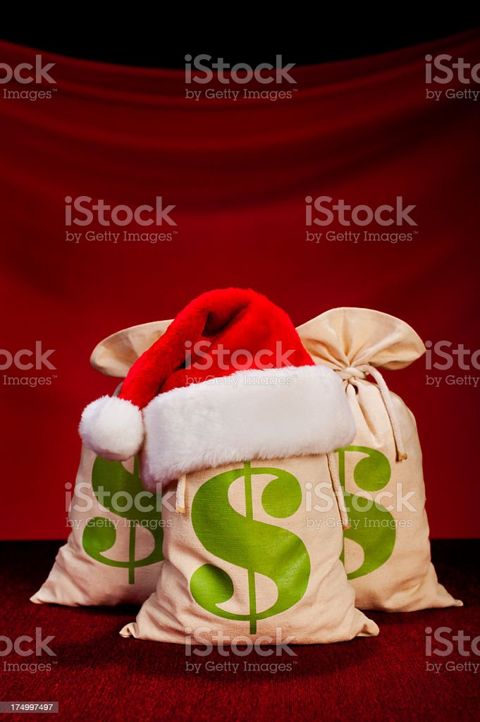 Christmas Money Bags - US Dollar royalty-free stock photo