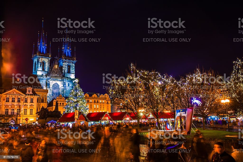 Christmas Mood in Old Town Square, Prague, Czech Republic stock photo