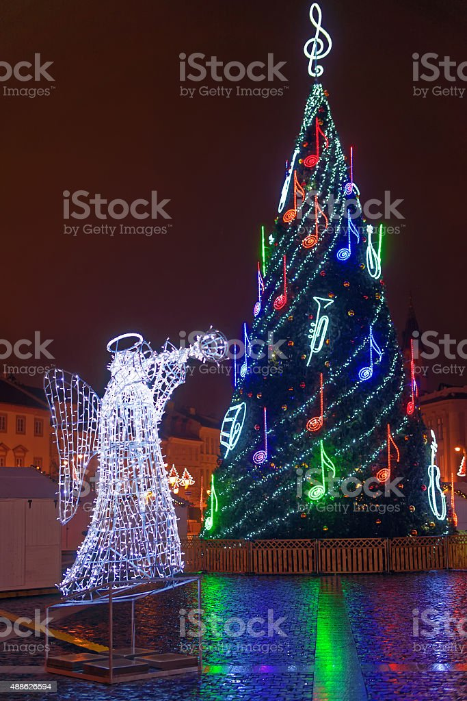 Christmas Mood on a snowless Town Hall Square stock photo