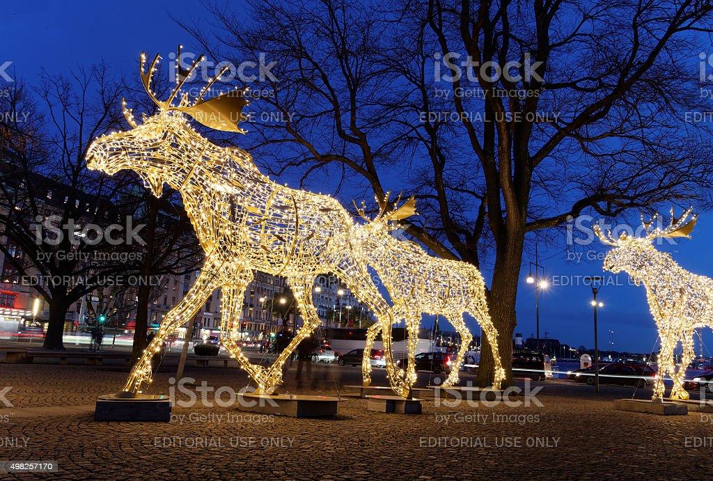 Christmas moose floc made of led light stock photo