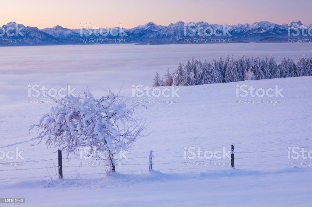 christmas morning on mt. auerberg royalty-free stock photo
