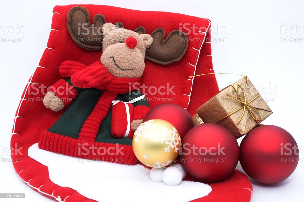'Christmas motive',  reindeer with surprises and balls royalty-free stock photo
