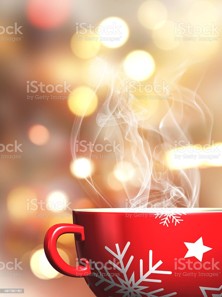 3D Christmas mug on a bokeh lights background stock photo