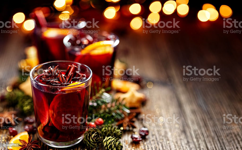 Christmas mulled red wine in a glass stock photo