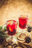 Christmas Mulled Wine, Candles and Spices. Xmas Postcard.
